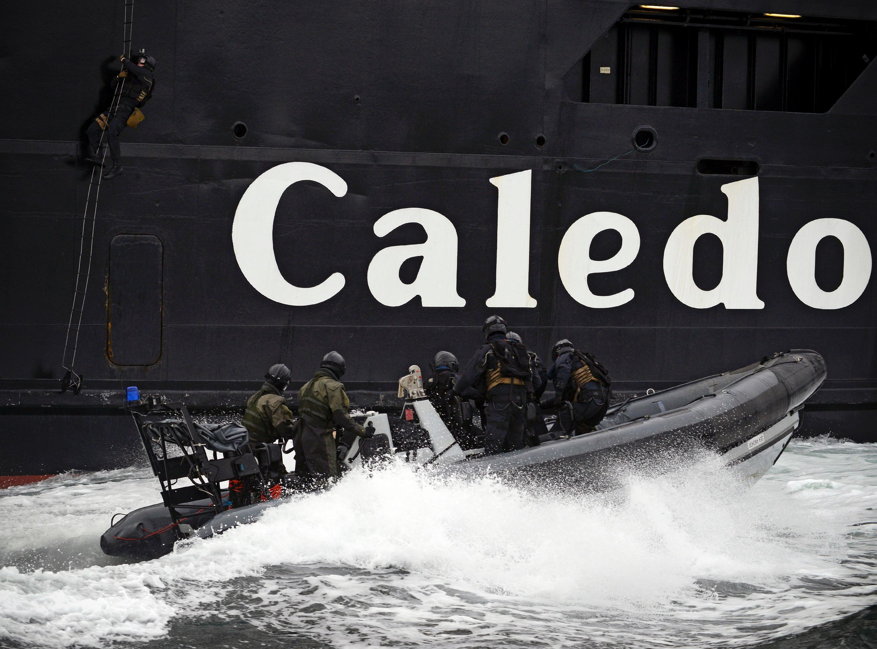 Royal Navy Marines scaling the MV Caledonian Isles