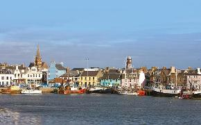 Stornoway town and harbour Lewis evening light