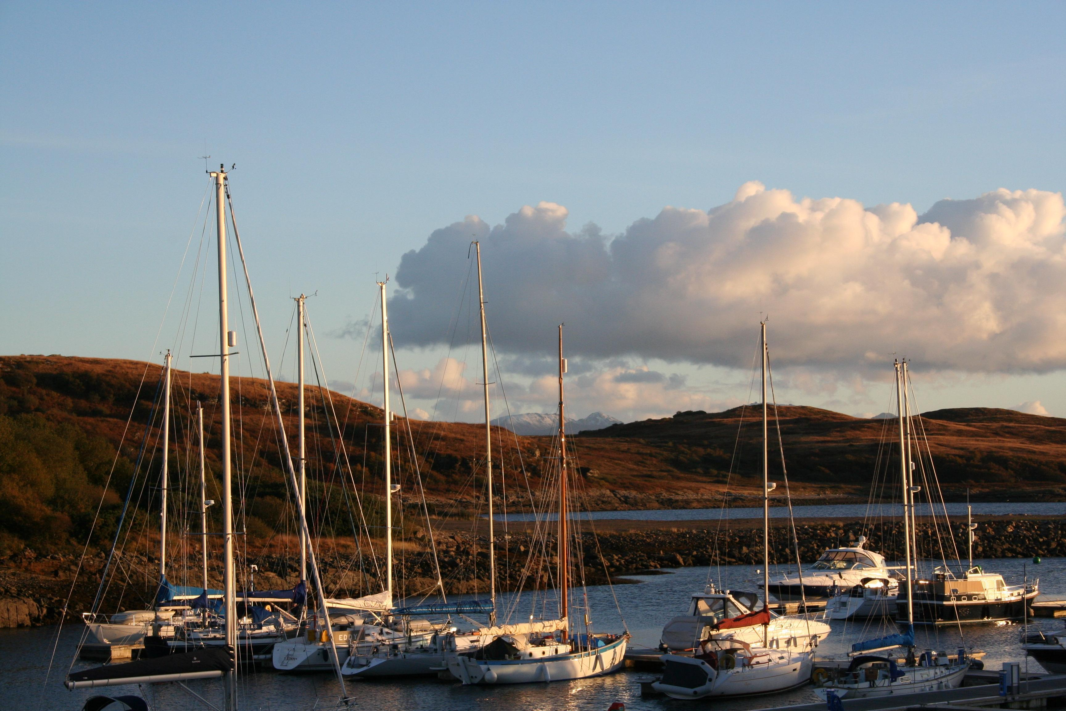 Portavadie with Arran Hills in the background