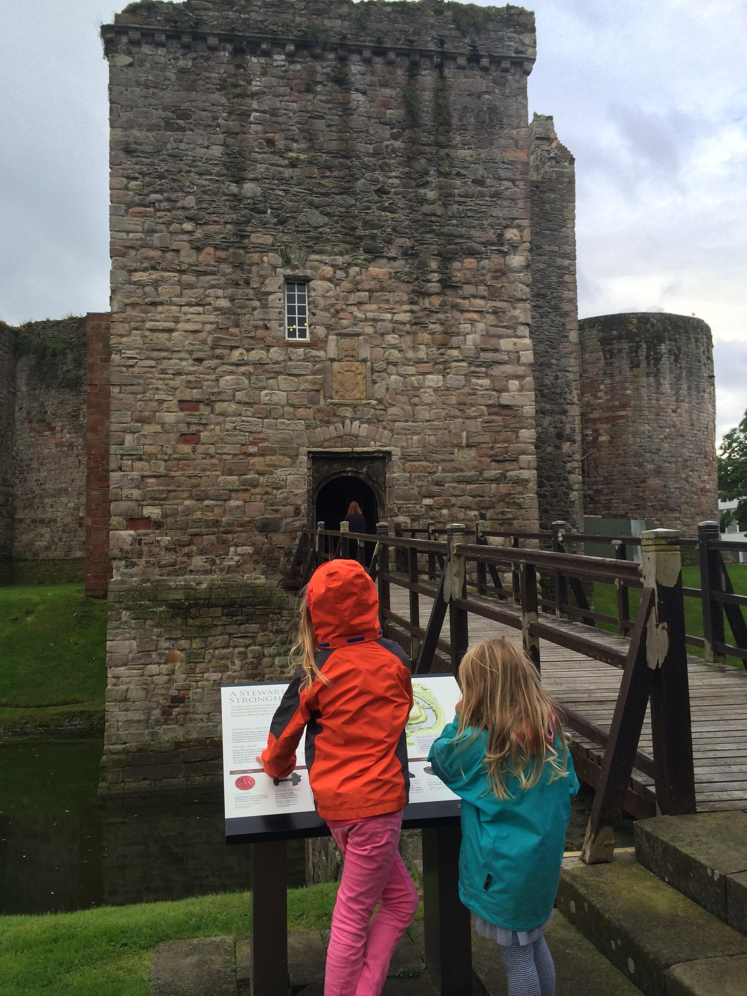 Robin's daughters exploring Rothesay Castle, Bute