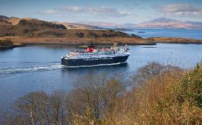 MV Isle of Mull from Dunollie Castle passing Kerrera, Argyll