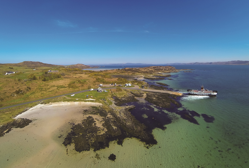 Gigha beach and ferry sailing