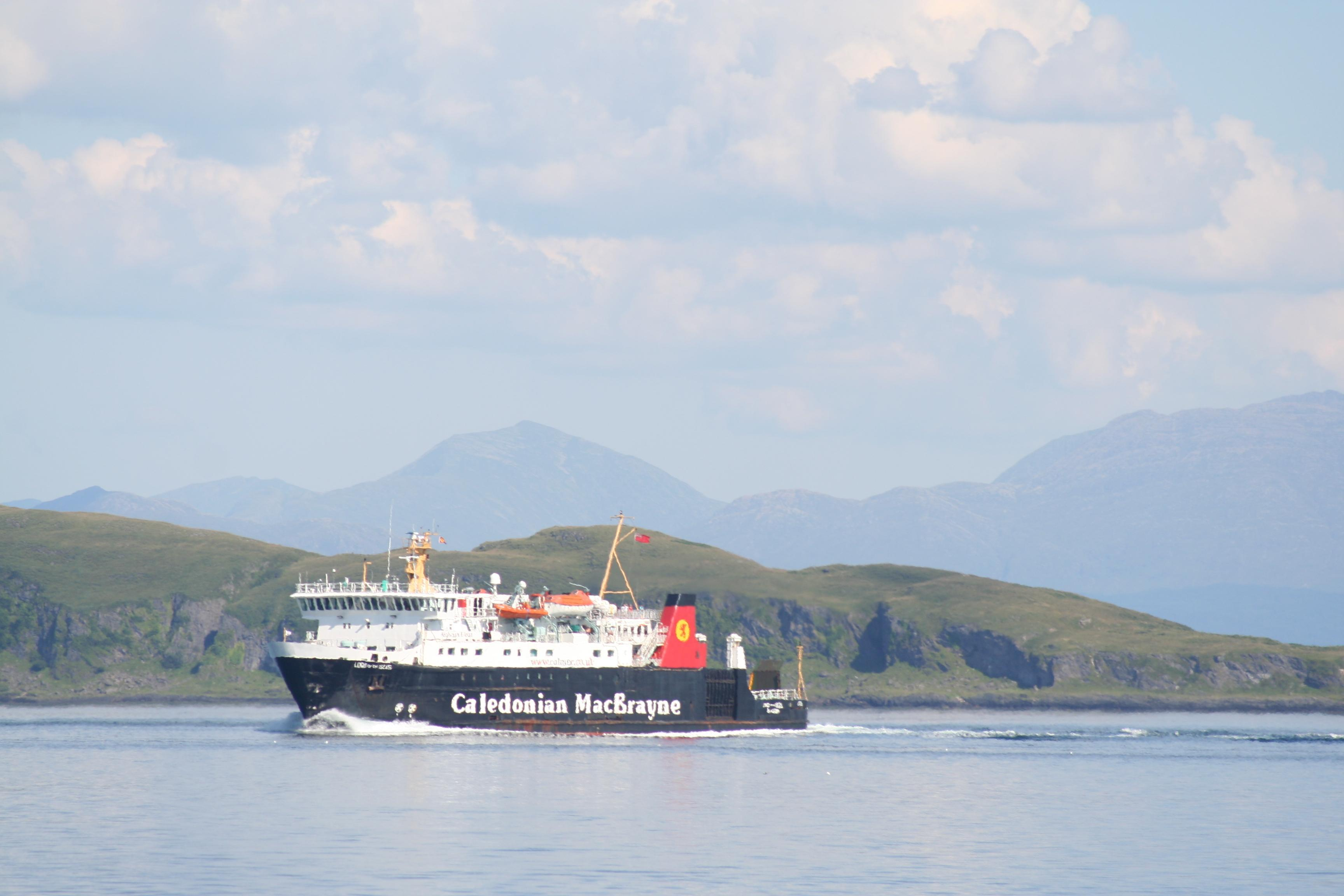 Cal Mac ferry en route between Mull and Oban