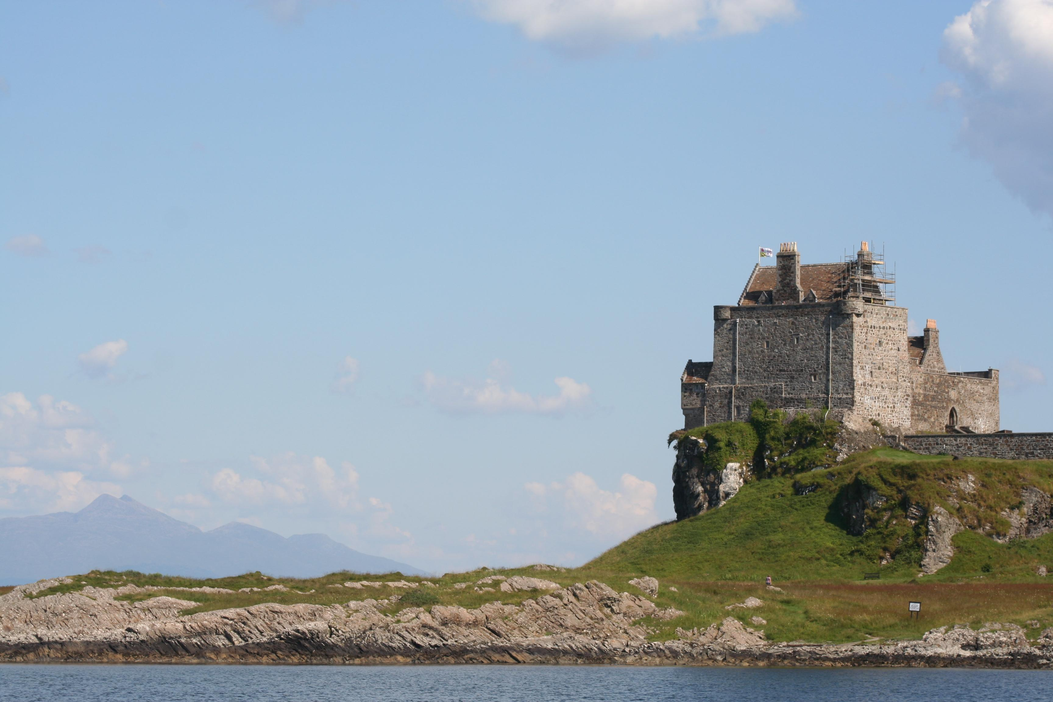 Castle Duart from Cal Mac ferry en route between Mull and Oban