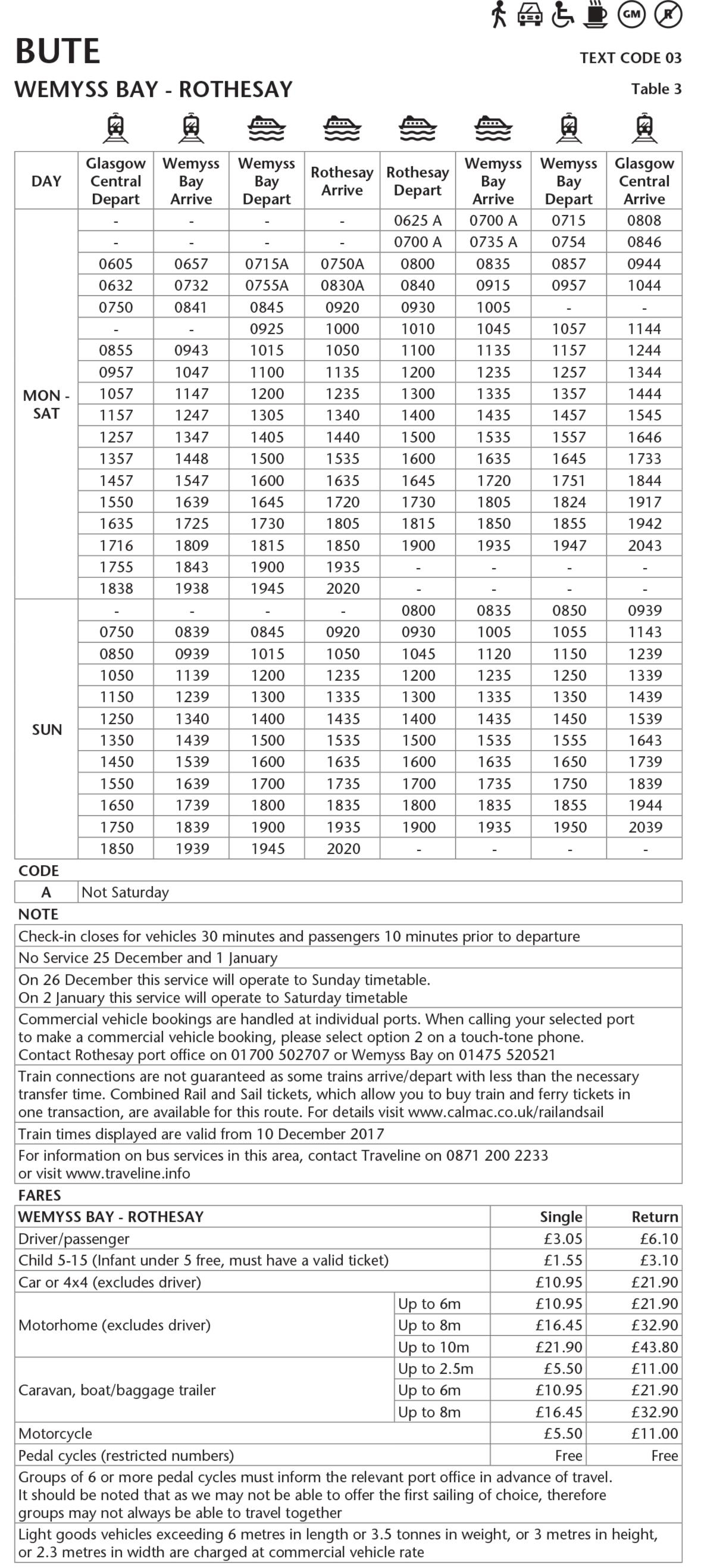 Table 3 Wemyss Bay - Rothesay Winter 2017-18 - This image is currently not accessible to screen readers. Please phone 0800 066 5000 for timetable details.