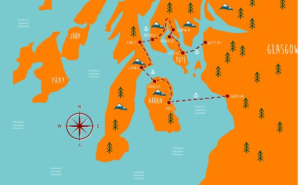 Adventure 1 Map: Five Ferries route