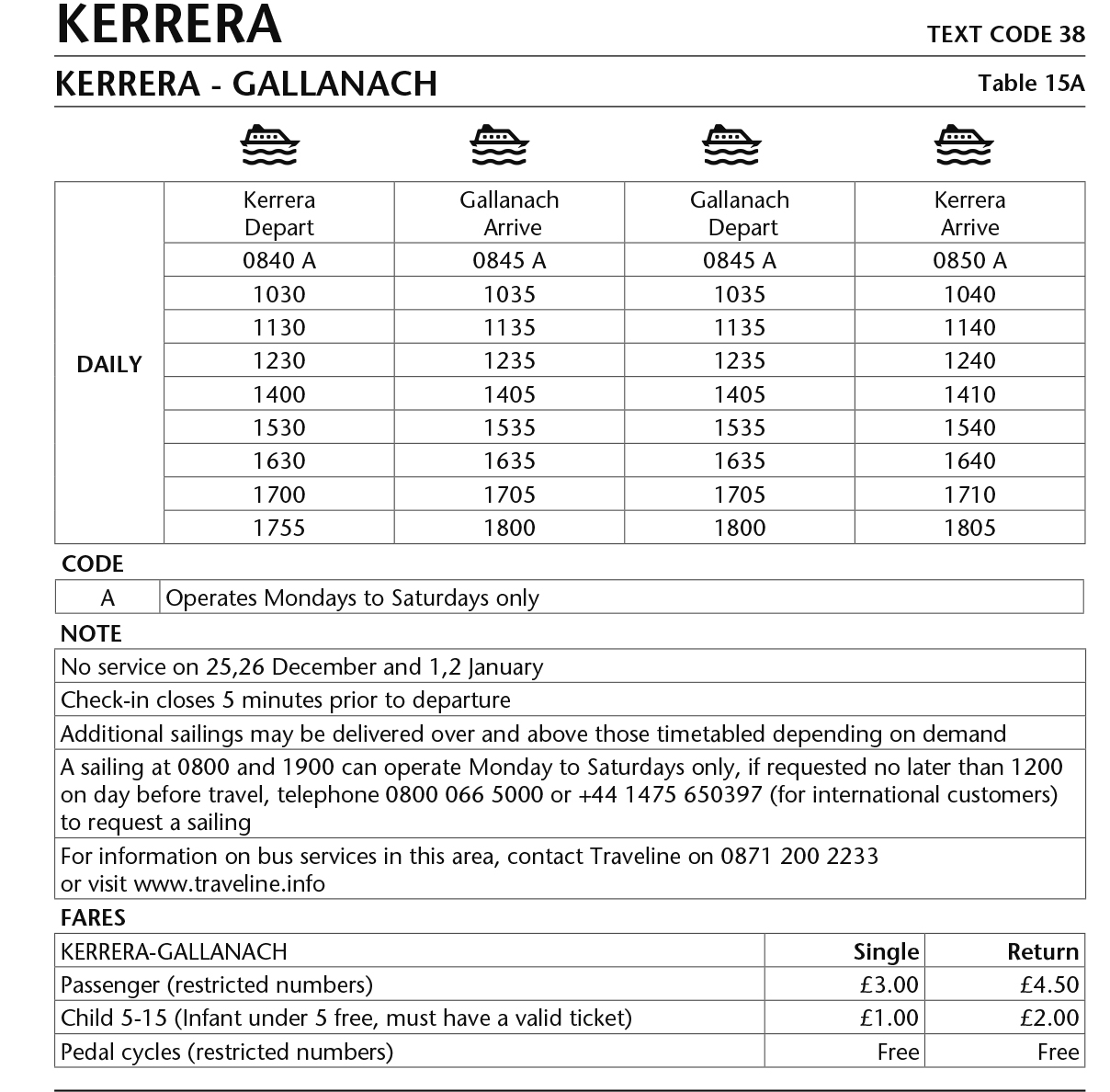 Table 15a Kerrera: Gallanach - Kerrera ferry Winter timetable 2017-18 - This image is currently not accessible to screen readers. Please phone 0800 066 5000 for timetable details.