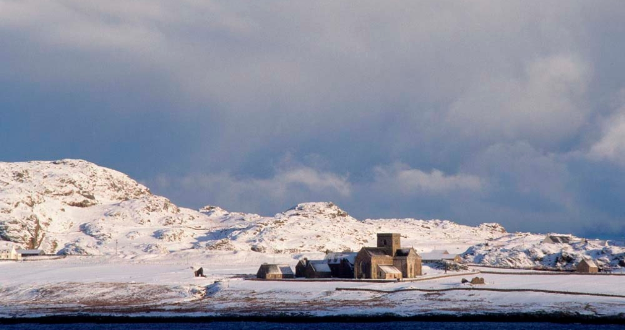 Iona Abbey in the snow