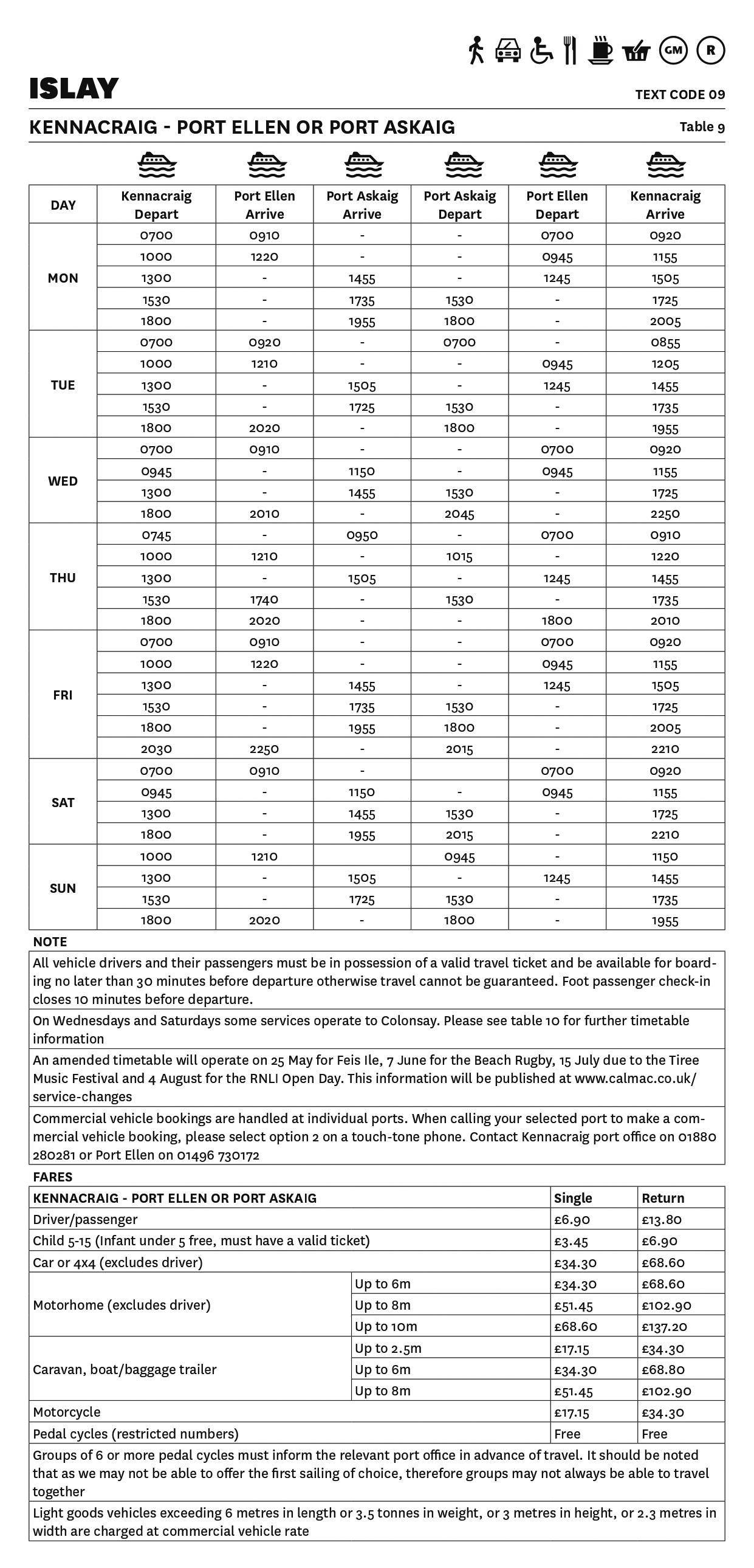 Kennacraig - Port Ellen or Port Askaig Summer timetable 2019