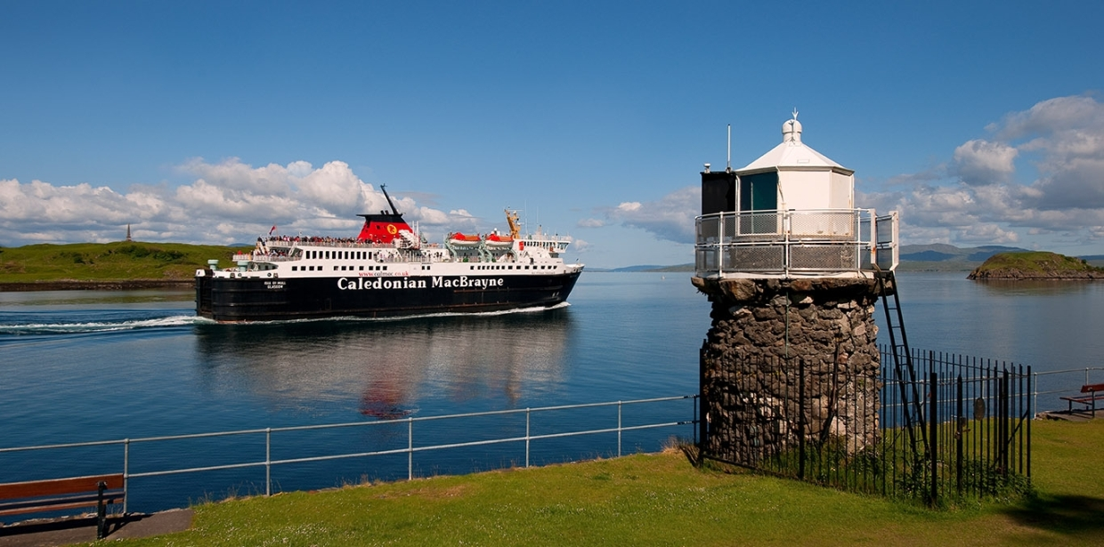 MV Isle of Mull passes Dunollie light Oban