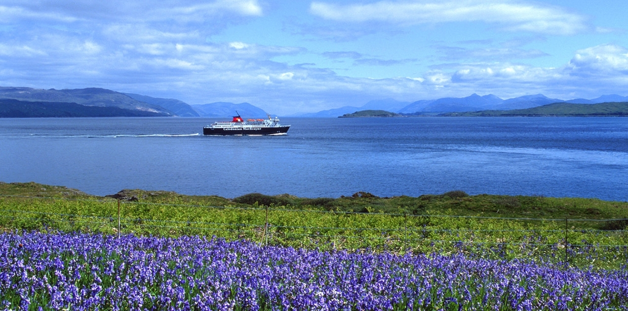 MV Isle of Mull passes Duart Point in spring
