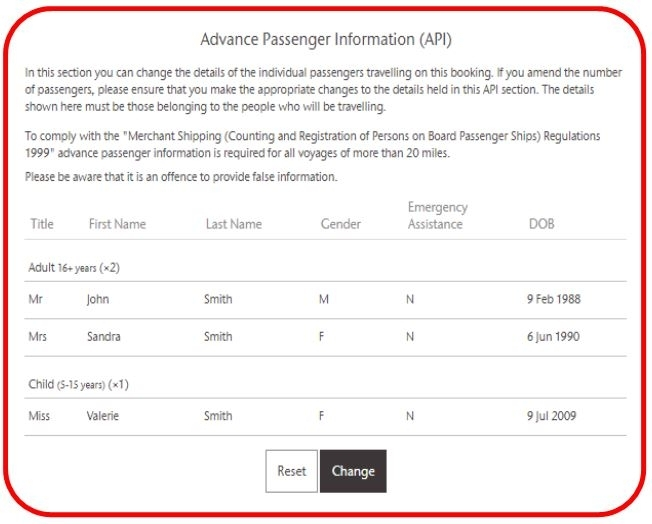 Picture of the Advance Passenger Information section of the booking amendment process