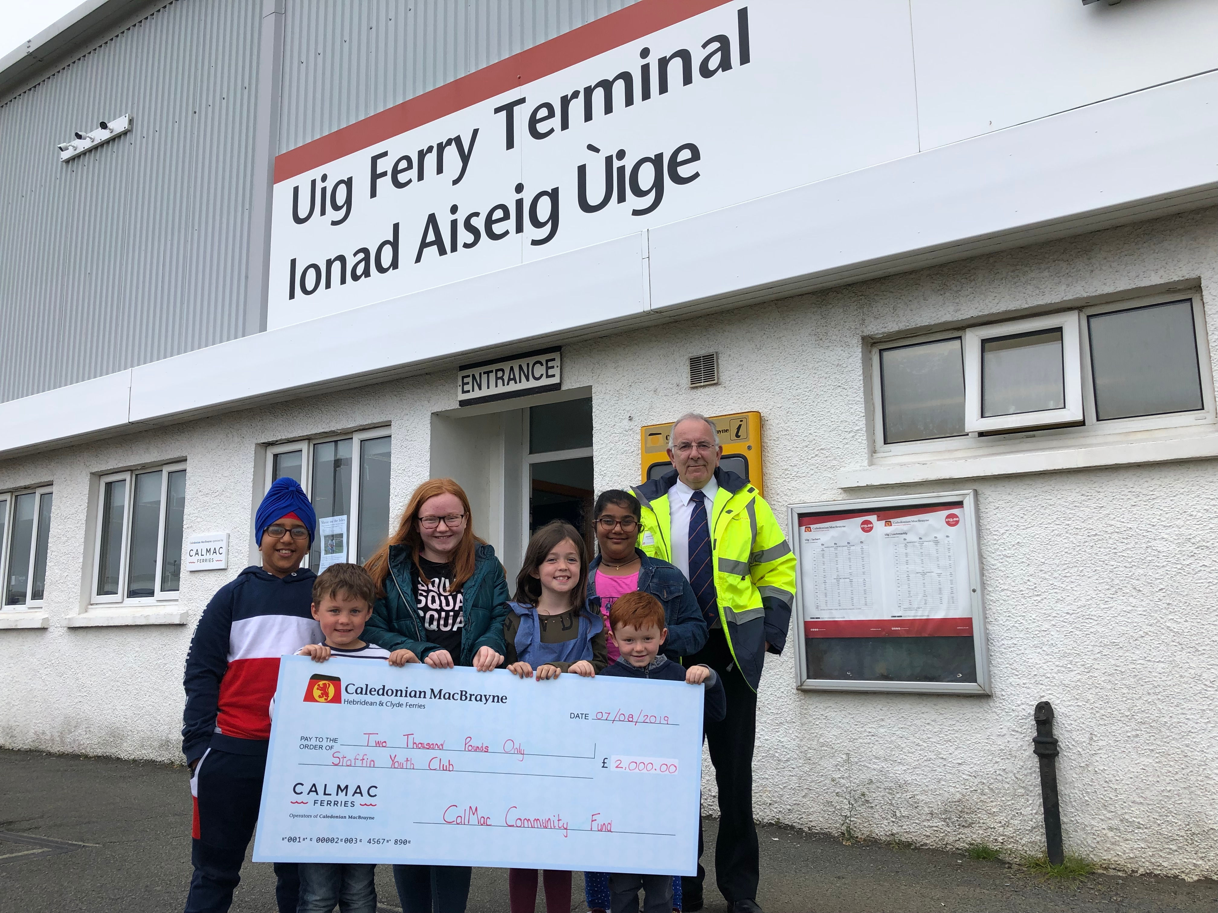 Staffin Youth Club with Donald Beaton Uig Port Manager