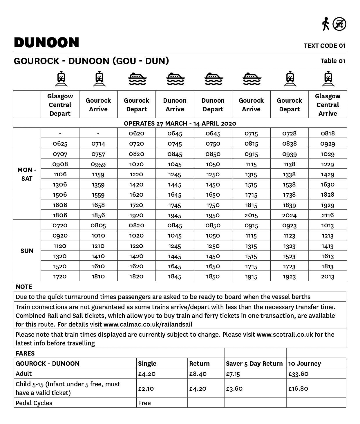 Table 01 Gourock - Dunoon - Essential lifeline timetable - This image is currently not accessible to screen readers. Please phone 0800 066 5000 for timetable details