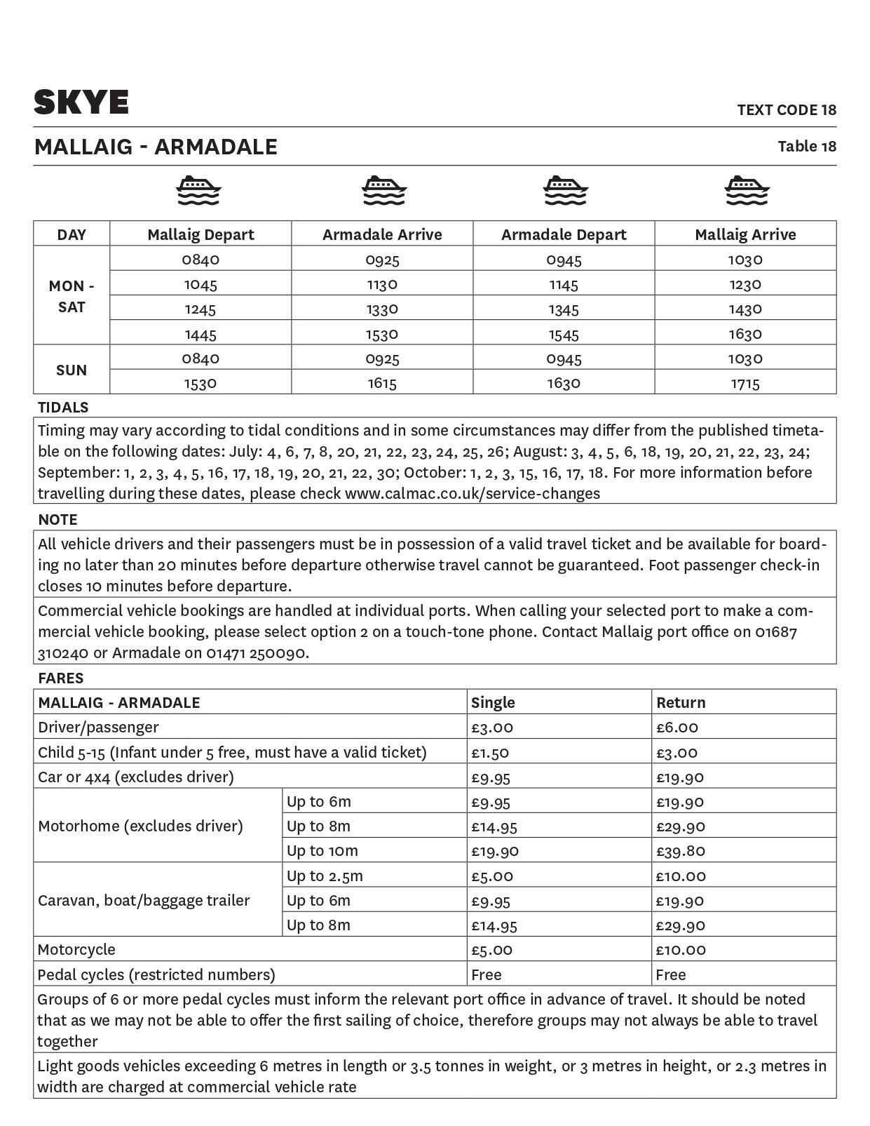 Table 18 Mallaig - Armadale - Temporary timetable - This image is currently not accessible to screen readers. Please phone 0800 066 5000 for timetable details