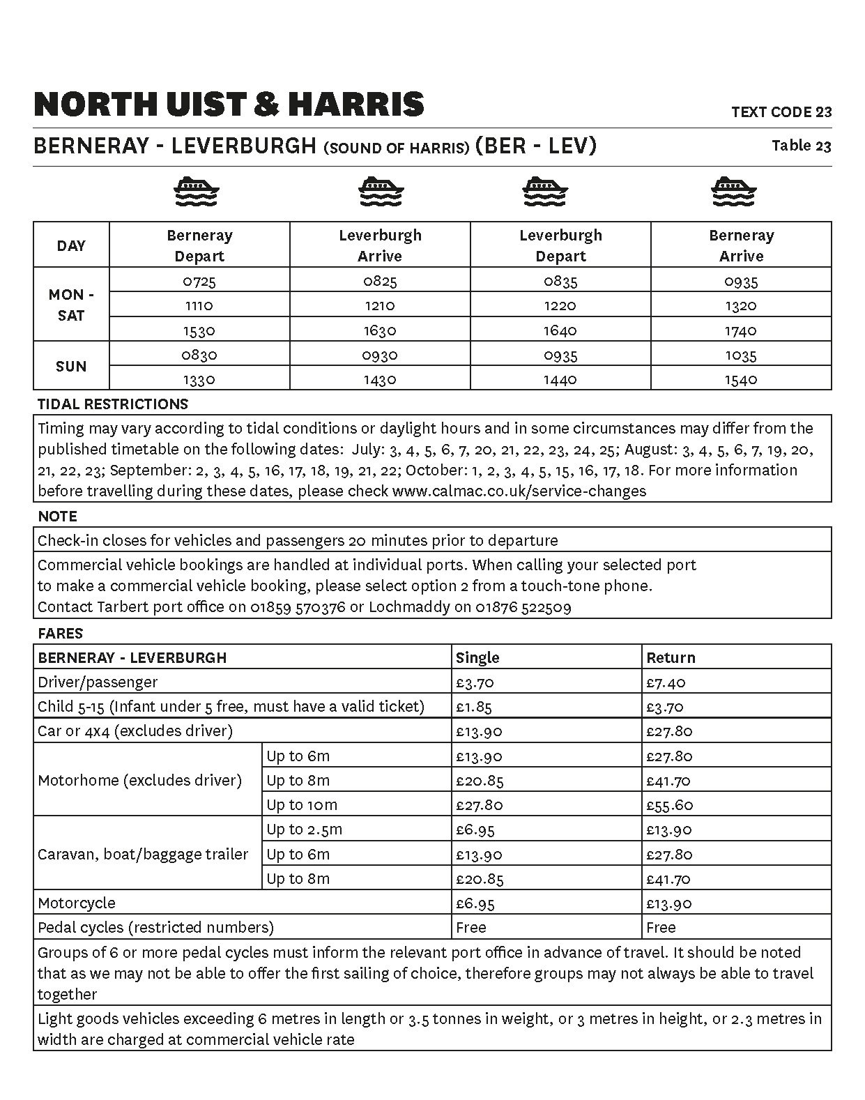 Table 23 Berneray - Leverburgh - Temporary timetable - This image is currently not accessible to screen readers. Please phone 0800 066 5000 for timetable details