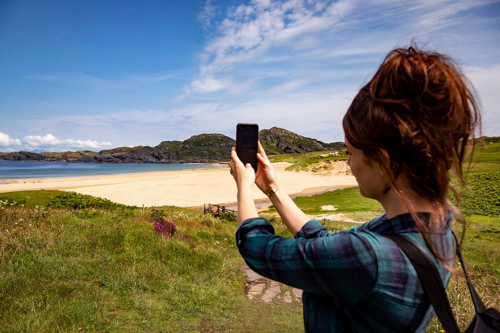 woman taking a selfie on Colonsay
